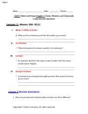 Unit E- Matter and Energy Chapter 1- Atoms, Elements, and Compounds Comprehension Questions.docx