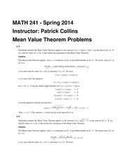 MATH 241 Spring 2014 Mean Value Problems Solutions