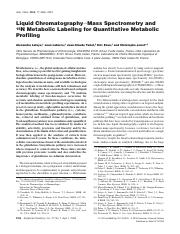Liquid Chromatography−Mass Spectrometry and 15N Metabolic Labeling for Quantitative Metabolic Profil