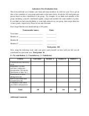 Laboratory Peer Evaluation