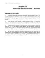 Chapter 09: Reporting and Interpreting Liabilities
