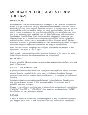 MEDITATION THREE - ASCENT FROM THE CAVE.docx