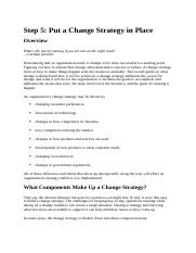 Step 5 - Put a Change Strategy in Place
