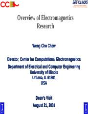 dean (1) ppt - Overview of Electromagnetics Research Weng Cho Chew