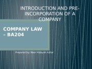 Chp 1-INTRODUCTION AND PRE-INCORPORATION OF A COMPANY