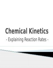 Explaining Reaction Rates (Fall 2012)