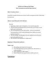 ERM Outline Part 1 - APA Research Manuscript