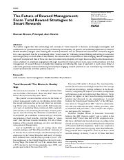2-Brown - The future of rewards management - From total rewards strategies o smart rewards.pdf