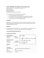 Homework 6 Solution on Air Pollution Control Engineering