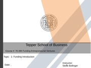 1 - Funding Entrepreneurial Ventures  Course 2014, Syllabus Master