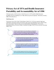 Privacy Act of 1974 and Health Insurance Portability and Accountability Act of 1996