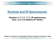 Chapter 17 - Alcohols & IR Spectroscopy