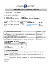 109720_Teaching Plan Selling and Sales Management (For Students)(2016)