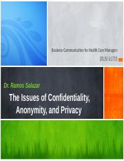 Issues of Confidentiality, Anonymity, and Privacy - Ch 21 -