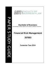 397003 Financial Risk Management - Study Guide S2 2014