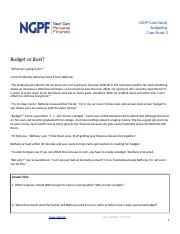 CS 2 Budget or Bust (1) docx - NGPF Case Study Budgeting