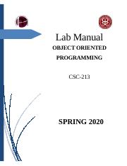 CSC213 Object Oriented Programming-Lab Manual By Aizanss.docx