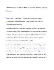 The Importance Of Interest Rates To Investors, Retirees, And The Economy.docx
