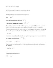 Math 222 Week 3 Discussion