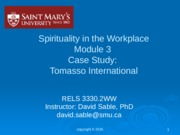 SiW Module 3 Case Study Tomasso Intl Part I