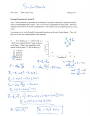 Exam #2 - Example Questions and Solutions - PHY2054SP16