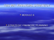 TBS 907- Autumn 2005- Lecture 7- Strategic Financial Planning