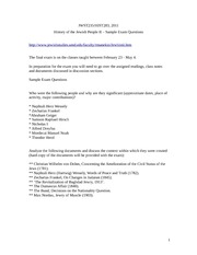 2011 History of the Jewish People II sample exam questions