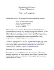 COM Policy on Prerequisites May 9, 2010