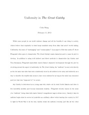The Great Gatsby - uniformity
