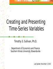 Creating and Presenting Time Series Variables