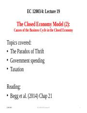 Lecture 19 The Closed Economy Model 2