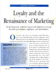 Loyalty and the Renaissance of Marketing[1](1)