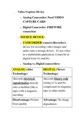 CS 1033B Class Notes Video Capture Device