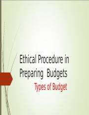 Ethical Issues in Budget Preparation