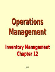 Inventory Mgmt - Chap 12 Part 1