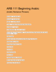ARB 111 Beginning Arabic (Arab Romance Words!)