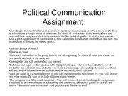 Political Communication Assignment and Dr. Pratte