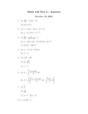 Math 122 Test 2 Fall 2005 Answers