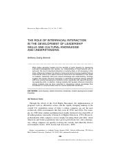 The Role of Interracial Interaction in the Development of Leadership Skills and Cultural Knowledge a