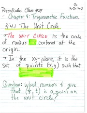 MATH 1112 Fall 2013 Unit Circle Lecture Notes