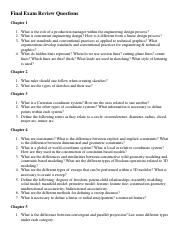 Final Exam Review Questions from Textbook