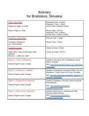 Itinerary For Slovakia Trip Page 1.docx