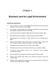Ch 1 Legal Environment of Business - Study Guide.docx