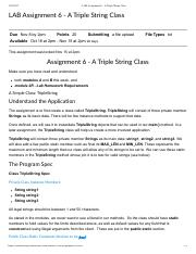 LAB Assignment 6 - A Triple String Class.pdf