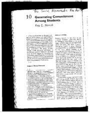 Hirsh, E.L. (2007) Generating Commitment among students