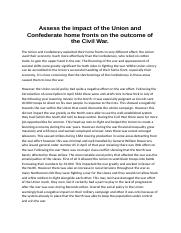 Assess the impact of the Union and Confederate home fronts on the outcome of the Civil Wa1.docx