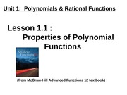 1.1 Properties of Polynomial Functions