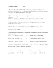 Quantum Numbers Quiz Key