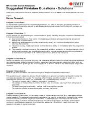 MKTG1045 Suggested Revision Solutions - Survey Research