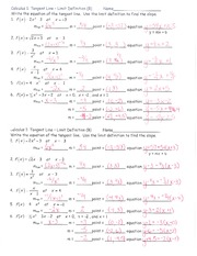 Notes Limit Defn of Tangent Slope Wkst B ans